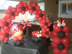 Image detail for -baby girl party theme ladybug this third pigeoni folle party theme is . 1st Birthday Themes, 3rd Birthday Parties, Baby Birthday, Birthday Ideas, Ladybug 1st Birthdays, Ladybug Party, Party Centerpieces, Balloon Decorations, Balloons