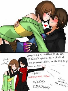 Chara: FUCK ME,KITTEN. Frisk: I'm so gay right now. Asriel: *dead* Artist-chan: wish I was this hot if I were a guy,but I approve. ---- Day 4