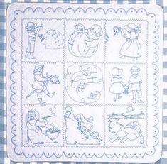 Nursery Rhyme Blue Work Embroidery Pattern BAD-044