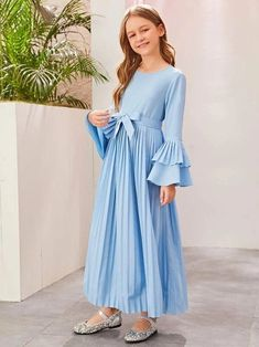 Girls Layered Bell Sleeve Pleated Belted Dress – Kidenhouse