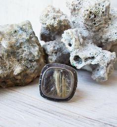 Golden rutilated quartz statement ring, oxidized sterling silver, artisan silversmith jewelry, angel hair cabochon, stamped metal, size 9