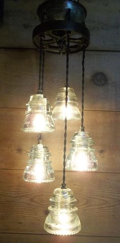Glass Insulator Pendant Light Fixture-Factory Cart Wheel Steampunk-5  lights