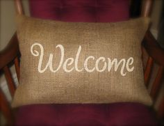 WELCOME Pillow Cover - 12x18- Shabby chic, french country new home decor- Rustic Reception Entry wedding decor. Welcome home gifts