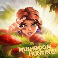 Mushroom hunting! Old illustration in casual/mobile/social style.  BEHANCE: https://www.behance.net/nickprokoart  #art #digitalart #digitalpainting #illustration #photoshop #videogames #cartoon #character #mushroom #draw #drawing #sketch #sketchbook #speedpaint #painting #gameart #girl #portrait #drawn #face