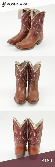 """Acme Vintage 1950s Brown Leather Cowboy Boots These stunning boots from the 50s show the craftsmanship of the era in a timeless style. Genuine leather Brown & burgundy decorated with white designs and piping  Approx. 10.25"""" heel to toe in length Approx. 10.25"""" tall including 1.75"""" heel Approx. 3.75"""" across the widest part of the sole  These boots are in amazing condition for their age! No holes or major structural concerns, but some light scuffing throughout. Please see all photos for…"""