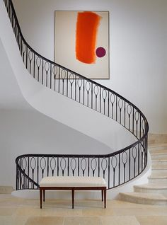 Amazing curved staircase with metal balusters and railing. It reminds me of balloons! Interior Staircase, Staircase Railings, Curved Staircase, Modern Staircase, Stairways, White Staircase, Iron Staircase, Architecture Details, Interior Architecture