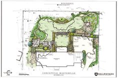 Good example of a landscape design for a large back yard giving a variety of garden areas.
