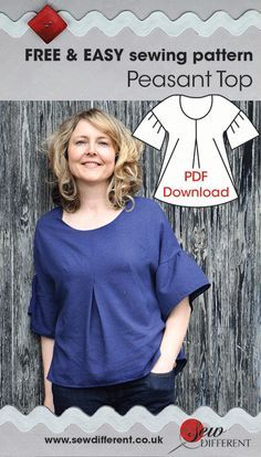 Free sewing pattern for women. Peasant top with downloadable PDF pattern and…