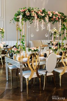 Have you ever seen a tables cape so perfect? | WedLuxe #tablescape #reception #florals #gold #white #centerpeice #wedding #pink