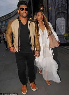 Keeping it simple: Ciara also wore silver sandals and natural make-up, with her caramel ha...