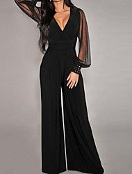 Sexy Womens jumpsuit black/long jumpsuit wide leg pants/transparent long sleeves in Kleidung & Accessoires, Damenmode, Overalls Jumpsuit Dressy, Jumpsuit Outfit, Black Jumpsuit, Tailored Jumpsuit, Summer Jumpsuit, Dressy Jumpsuit Wedding, Mesh Jumpsuit, Summer Romper, Outfit Summer