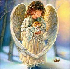 sandra kuck angels | Sandra Kuck - girl, kitten, animal, people, angel, art, snow, sandra ...