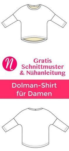 Freebook - Damen-T-Shirt mit Fledermausärmeln in Gr. 32 - 54. PDF-Schnittmuster zum Drucken mit Nähanleitung. Nähtalente Magazin für Hobbyschneider - Free Sewing Pattern for a woman batwing shirt. Free PDF Pattern with sewing tutorial. Size 32 - 54