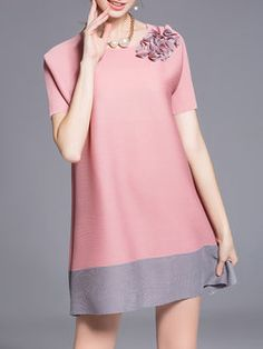Pink Short Sleeve A-line Polyester Crew Neck Mini Dress