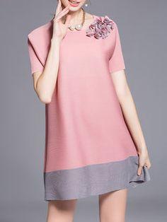 Pink Short Sleeve A-line Polyester Crew Neck Mini Dress