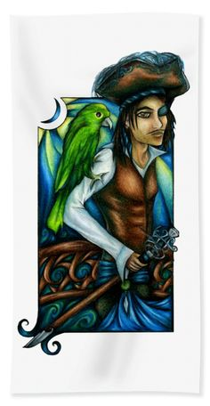 #Pirate with #parrot #colorpencil #drawing just sailed onto #beach #towel at #FineArtAmerica!