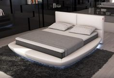 Modrest Sferico Modern Eco-Leather Bed with LED Lights - VIG Furniture VGINSFERICOThis modern round bed features LED Lighting around the base of the bed, adding a pleasant ambience to your sleeping space. It features a padded headboard that adds extra com Modern Bedroom Furniture, Contemporary Bedroom, Bed Furniture, Furniture Ideas, Contemporary Style, Adams Furniture, Furniture Design, Modern Bedrooms, Funky Furniture