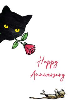 Cat Mouse Anniversary - Happy Anniversary Card #greetingcards #printable #diy #Anniversary Happy Anniversary Cards, Cat Mouse, Greeting Cards, Snoopy, Printables, Island, Cats, Diy, Free