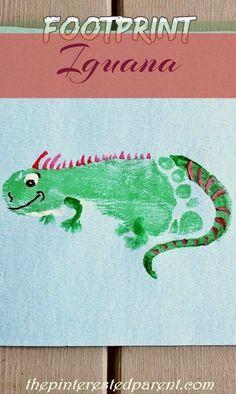 I is for Iguana footprint craft Letter I Crafts, Abc Crafts, Alphabet Crafts, Daycare Crafts, Animal Crafts, Preschool Crafts, Crafts For Kids, Daycare Rooms, Preschool Alphabet