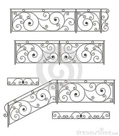 Photo about Vector set: wrought iron stairs railing, fence and grilles isolated on white background. Illustration of decorative, design, entrance - wrought iron fence - I wonder if a toddler could get through this and into…Home Decorators Wrought Iron Stair Railing, Steel Railing, Wrought Iron Fences, Balustrade Inox, Balustrade Balcon, Iron Handrails, Iron Railings, Balcony Railing Design, Iron Gate Design