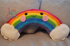 With all the rain here, a rainbow is a welcome sight. Especially one with cute cheeks and a happy smile! I hope you'll enjoy making your own Rainbow Kawaii Cuddler. Rainbow Crochet, Love Crochet, Crochet For Kids, Beautiful Crochet, African Flower Crochet Animals, Pillow Pals, Kawaii Crochet, Crochet Cushions, Crochet Pillow