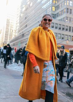 #StreetStyle   #NYC   Laure Heriard Dubreuil in a Céline coat