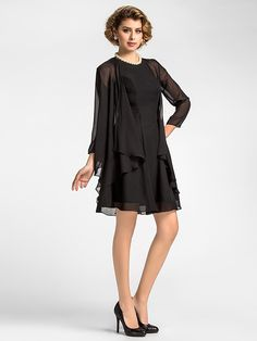 A-line Plus Sizes Mother of the Bride Dress - Black Knee-length 3/4 Length Sleeve Chiffon | LightInTheBox