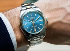 """ROLEX Milgauss Z Blue Dial 116400GV Watch Hands-On - by James Stacey - Take a closer look on aBlogtoWatch.com """"The newest term in the dictionary of obscure Rolex vocabulary is 'Z blue.' Hidden among the buzz of the new Sea-Dweller and the white gold GMT-Master II, Rolex quietly added a new dial color for the estranged cousin within the Oyster line up, the Milgauss, with the new 2014 Rolex Milgauss Z Blue Dial 116400GV watch..."""""""