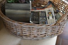 After a little paint, my round #wicker tray from #Goodwill is now gray.  $3.99 #thrift #paint #Restoration Hardware