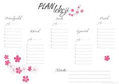 Rozaneczka: Back to school - plany lekcji do pobrania School Timetable, Lesson Plans, Free Printables, Scrapbooking, Bullet Journal, Notes, Student, Graphics, Organization