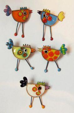 elza pereira - make these in lampwork Bird Jewelry, Ceramic Jewelry, Enamel Jewelry, Copper Jewelry, Polymer Clay Jewelry, Jewelry Art, Jewelry Design, Jewellery, Artisan Jewelry