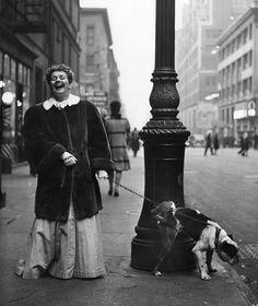 "Actress Joan Roberts at Intermission from ""Oklahoma"" with Her English Bulldog ""Goggles"", NYC, 1944"