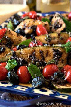 Grilled Zucchini Salad | www.afamilyfeast.com | #Italian #vegetables #Mediterranean
