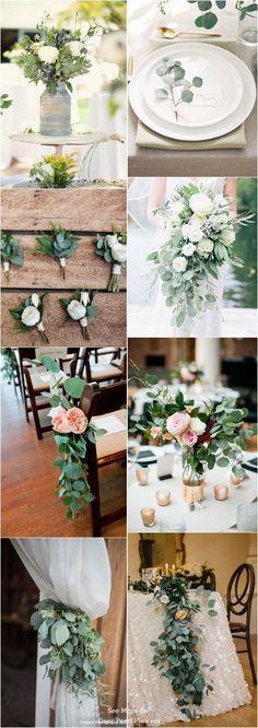 Eucalyptus green wedding color ideas / http://www.deerpearlflowers.com/greenery-eucalyptus-wedding-decor-ideas/