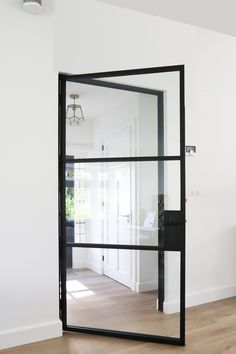 Interior Exterior, Interior Architecture, Home Living Room, Living Spaces, Steel Frame Doors, White Internal Doors, Interior Design Boards, Contemporary Home Decor, Home Hacks