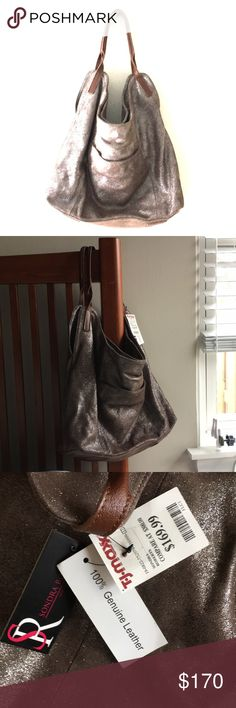 100% Leather Slouch Purse - unique Sparkle Taupe! This purse is the best purse I've ever seen! Unfortunately i can not pull this purse off. I've stared at it for years and haven't used it - NWT!  It's a very well made slouch purse - 100% leather, grayish/brown (taupe) color with glitter (but not obnoxiously so) right in the fabric. Two straps made of brown leather sit perfectly on your shoulder and don't fall off.  Inside: two separate open compartments and a middle zipper compartment. Small…