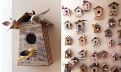 Birdhouses made from books--indoor display of course --but soooo sweet.