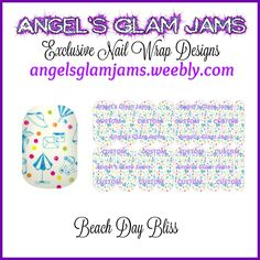 Beach Day Bliss Jamberry Nail Wraps by Angel's Glam Jams  ORDER HERE: http://angelsglamjams.weebly.com/beach-day-bliss.html  #beach #beachumbrella #polkadot #dots #blue #summer #jamberry #nailwraps