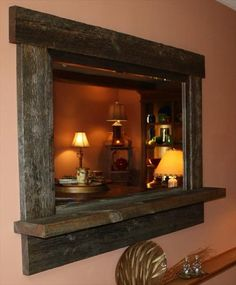 Reclaimed Lumber Mirror for any room of your home by Tom's Custom Woodworking Inc./Wine 2 Wood: Reclaimed Lumber Mirror for any room of your home by Tom's Custom Woodworking Inc. Barn Wood Projects, Reclaimed Wood Projects, Reclaimed Lumber, Pallet Furniture, Rustic Furniture, Pallet Mirror Frame, Pallet Frames, Wood Mirror, Mirror Trim