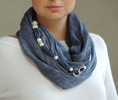 """Dark jeans-colored Chiardiluna Milano scarf. It's a jewelry scarf, perfect on every occasion: do you want to make your casual outfit a bit more fashionable? You just have to wrap this lovely accessory around your neck and hook it through its snap-hook.... how you say it? """"Easy Peasy"""" :p"""