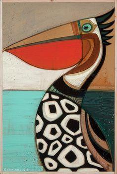 """Pelicano"" © Erik Abel 2015 25.5x37.5 Acrylic, marker, colored pencil on panel…"