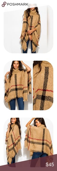 Burberry-like Plaid Textured Poncho BRAND NEW - Boutique Item Price is FIRM Bundle to Save (will send private offer)  Gorgeous Burberry-like plaid on this textured turtleneck poncho.  Lightweight, 100% knit acrylic.  Perfect for any fall wardrobe!!! Sweaters Shrugs & Ponchos