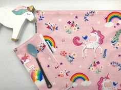 One Placemat One Napkin Pink Unicorn and Rainbows Montessori | Etsy