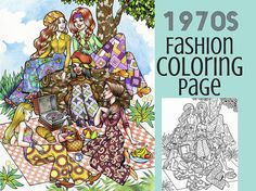 Printable Coloring Page- 1970s Fashion Coloring Book - Printable Coloring Page- 70s
