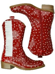 hippekippe_zecchino-d-oro-dots-red Polka Dot Party, Polka Dots, Cowgirl Boots, Red Shoes, Cool Patterns, Ankle Booties, Rubber Rain Boots, Kids Fashion, Stripes