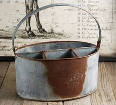 Metal Utensil Holder Rusty Zinc. Maybe a couple of these on the buffet? Too too?