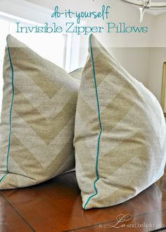 basement pillows - DIY pillow cover with piping and zipper via a LO and Behold Life