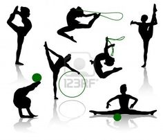 Illustration of Silhouettes of gymnasts with various sports subjects. A ball, a skipping rope, a hoop vector art, clipart and stock vectors. Couple Silhouette, Silhouette Clip Art, Gymnastics Videos, Rhythmic Gymnastics, Gymnastics Birthday Cakes, Youth Olympic Games, Photograph Video, Skipping Rope, Banner Printing