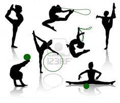 Siluetas de los gimnastas con diversos temas deportivos. Un balón, una cuerda de saltar, un aro Foto de archivo - 3435306