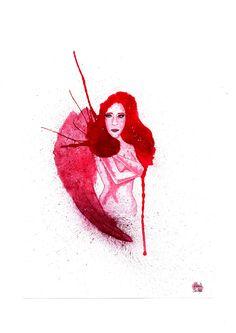 Not just an angel #watercolor #aquarela #aquarelle #angel #anjo #rosa #vermelho #red